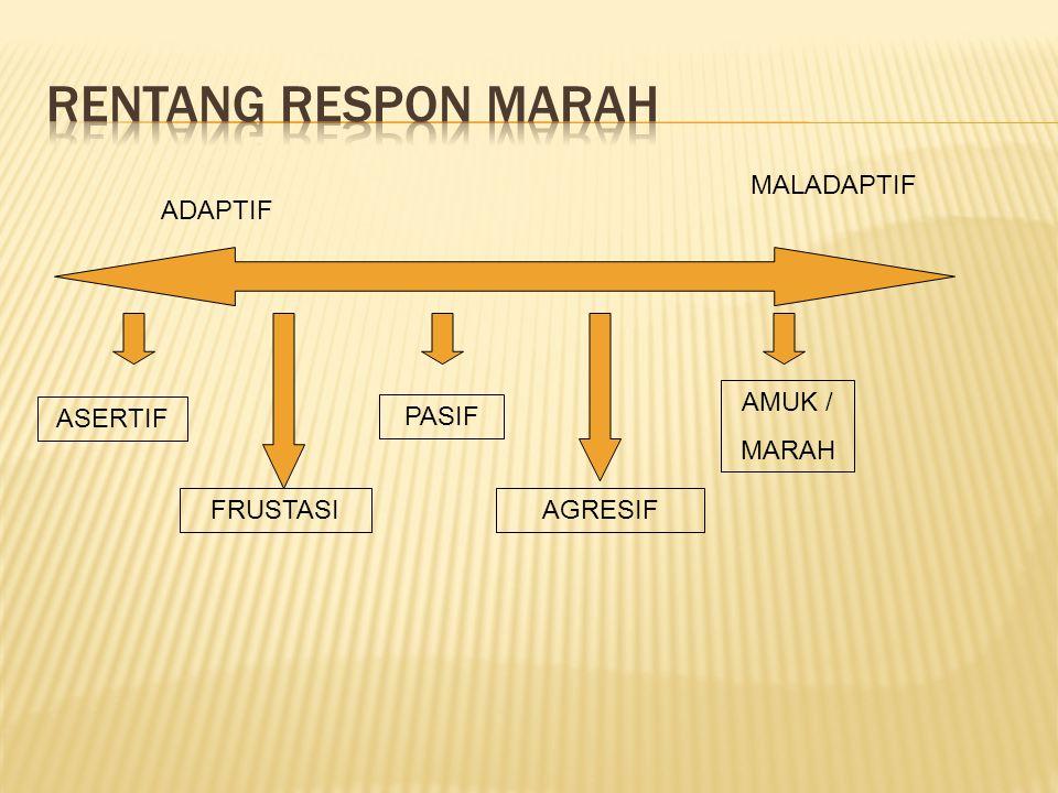  ASERTIF : marah yg terus terang dan dapat mengemukakan alasan dengan komunikasi yg baik, tanpa menyakiti orang lain.