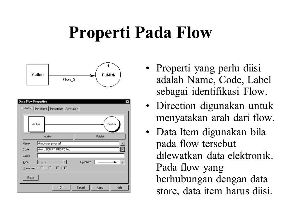 Properti Pada Flow •Properti yang perlu diisi adalah Name, Code, Label sebagai identifikasi Flow.
