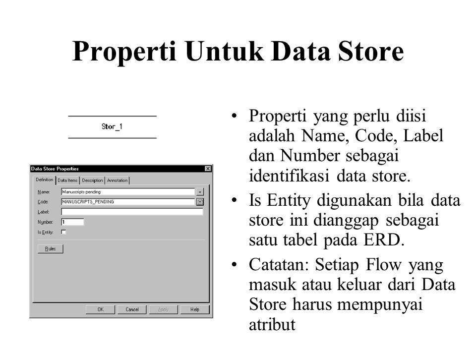 Properti Untuk Data Store •Properti yang perlu diisi adalah Name, Code, Label dan Number sebagai identifikasi data store. •Is Entity digunakan bila da