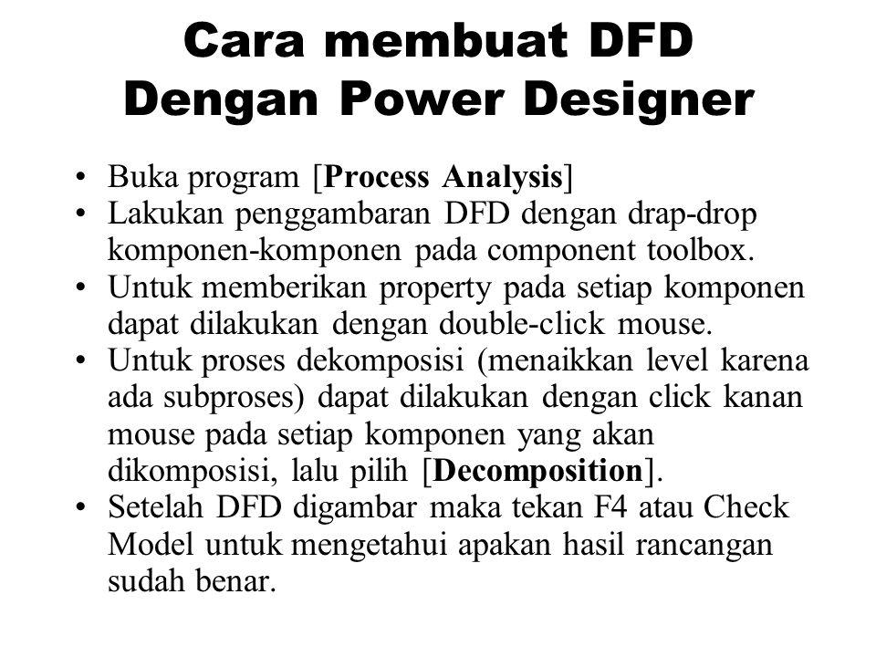 Cara membuat DFD Dengan Power Designer •Buka program [Process Analysis] •Lakukan penggambaran DFD dengan drap-drop komponen-komponen pada component toolbox.