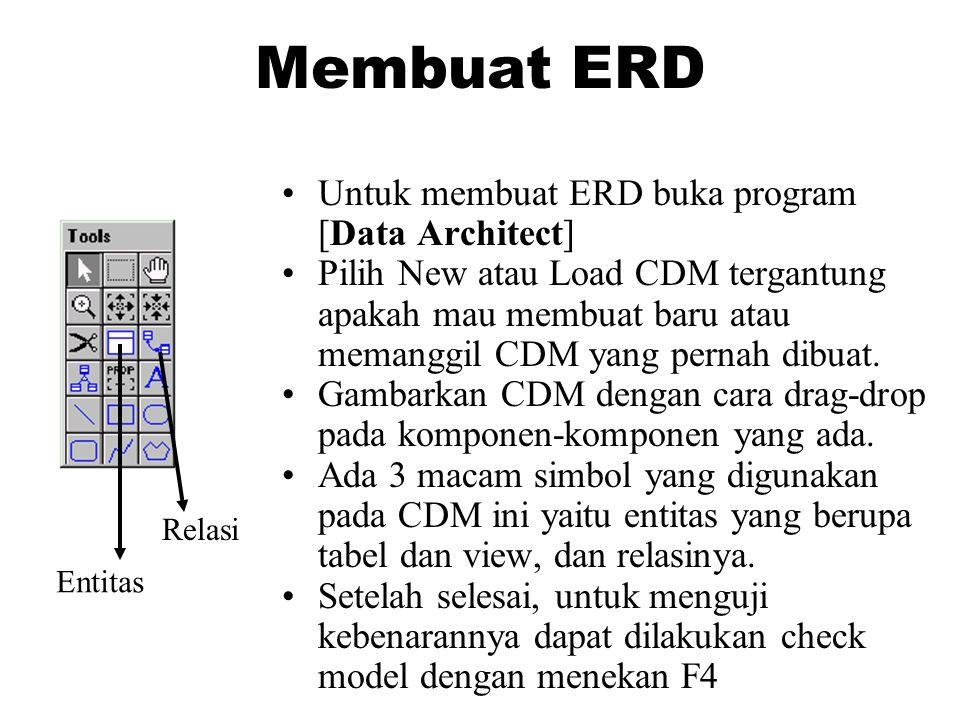 Membuat ERD •Untuk membuat ERD buka program [Data Architect] •Pilih New atau Load CDM tergantung apakah mau membuat baru atau memanggil CDM yang pernah dibuat.