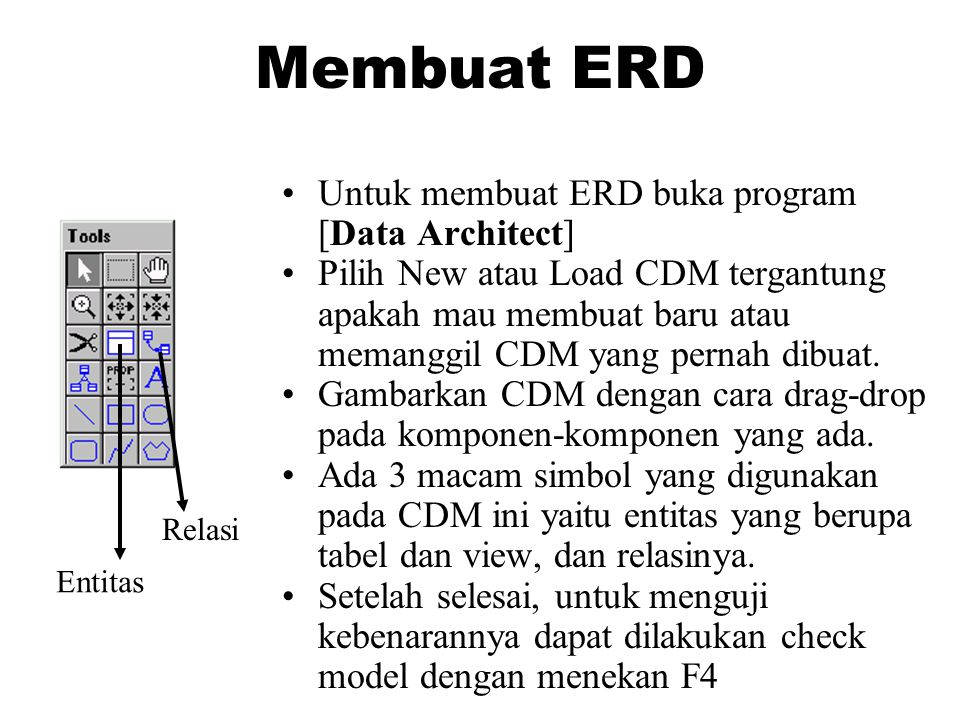 Membuat ERD •Untuk membuat ERD buka program [Data Architect] •Pilih New atau Load CDM tergantung apakah mau membuat baru atau memanggil CDM yang perna