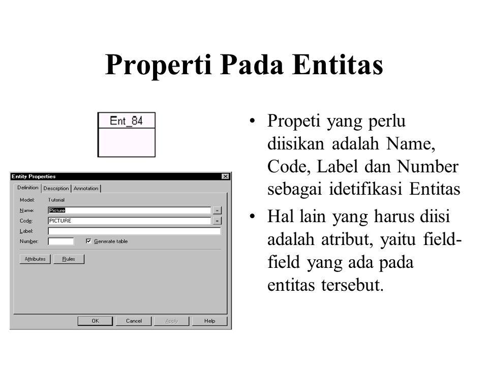 Properti Pada Entitas •Propeti yang perlu diisikan adalah Name, Code, Label dan Number sebagai idetifikasi Entitas •Hal lain yang harus diisi adalah atribut, yaitu field- field yang ada pada entitas tersebut.