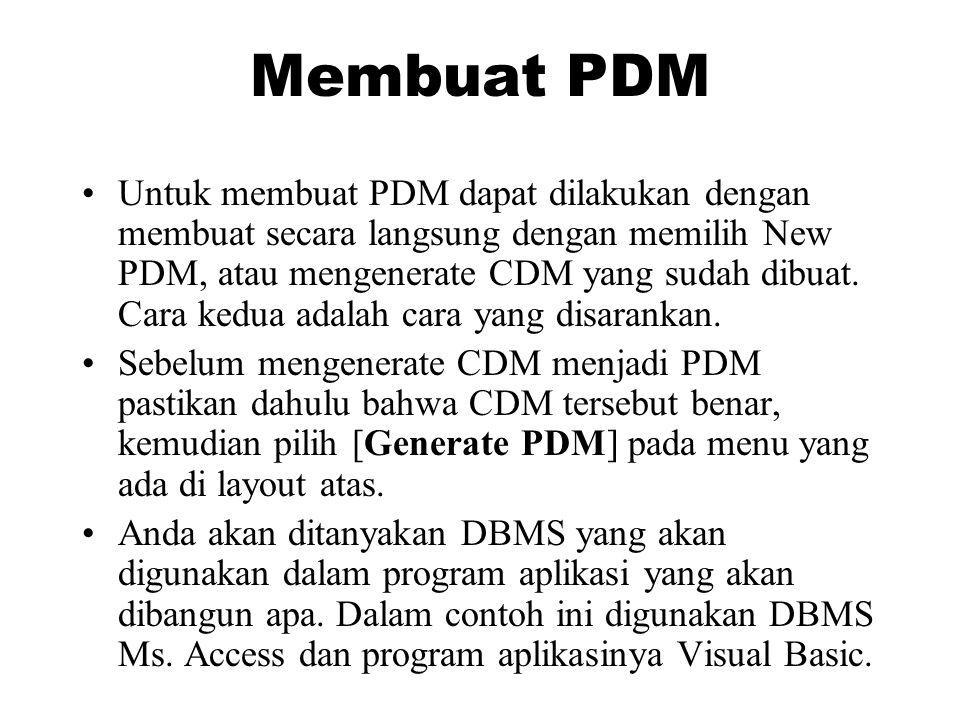Membuat PDM •Untuk membuat PDM dapat dilakukan dengan membuat secara langsung dengan memilih New PDM, atau mengenerate CDM yang sudah dibuat. Cara ked