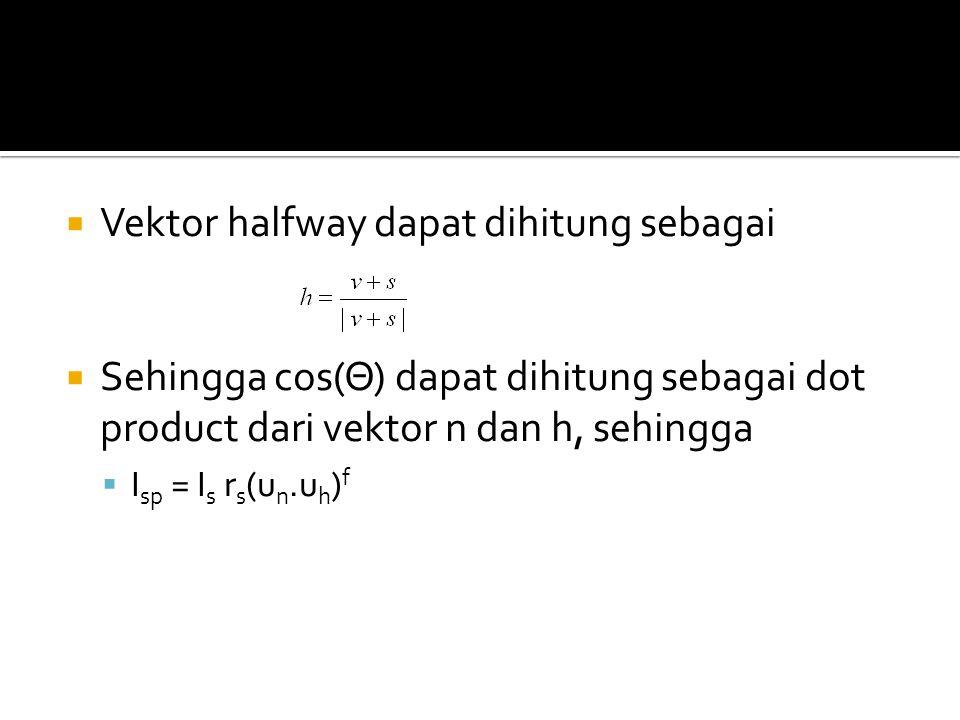  Vektor halfway dapat dihitung sebagai  Sehingga cos(Θ) dapat dihitung sebagai dot product dari vektor n dan h, sehingga  I sp = I s r s (u n.u h ) f