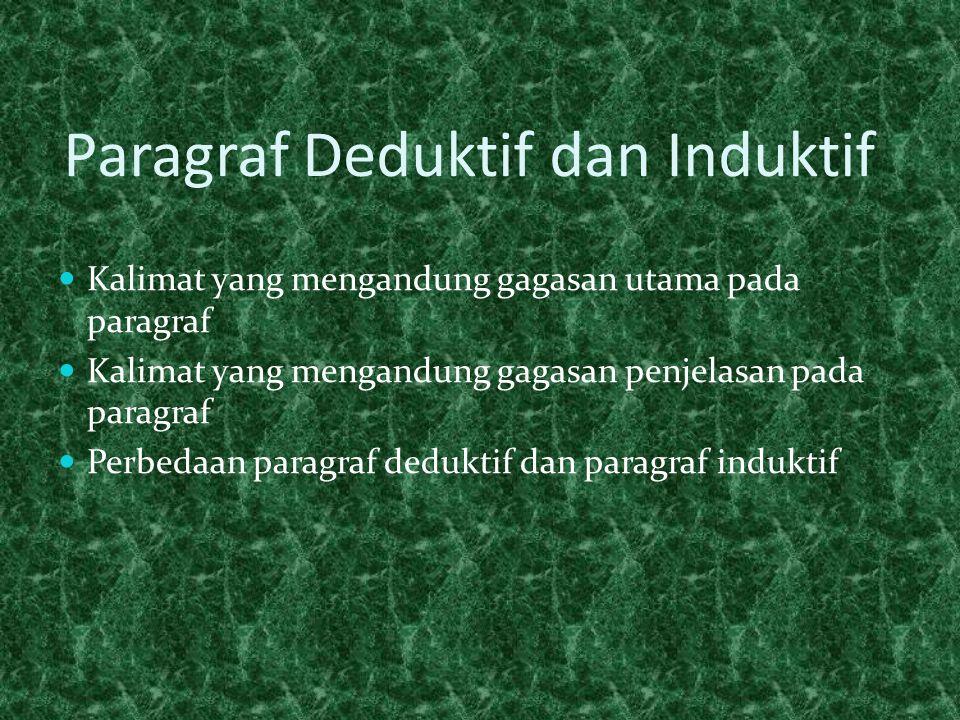 Paragraf Deduktif dan Induktif  Kalimat yang mengandung gagasan utama pada paragraf  Kalimat yang mengandung gagasan penjelasan pada paragraf  Perbedaan paragraf deduktif dan paragraf induktif
