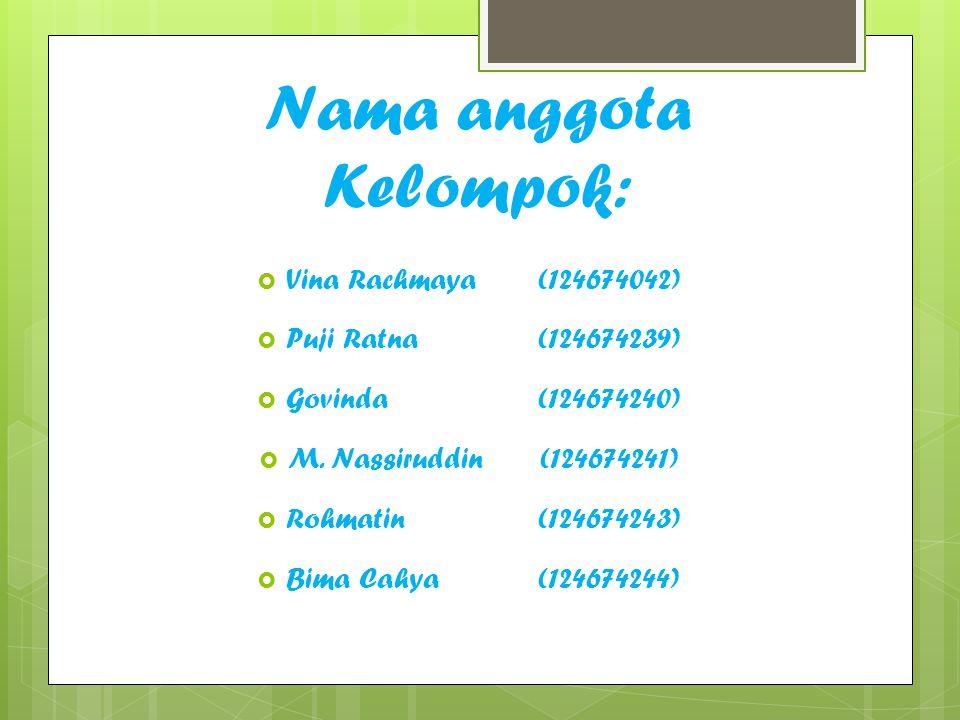 Nama anggota Kelompok:  Vina Rachmaya(124674042)  Puji Ratna(124674239)  Govinda(124674240)  M. Nassiruddin(124674241)  Rohmatin(124674243)  Bim
