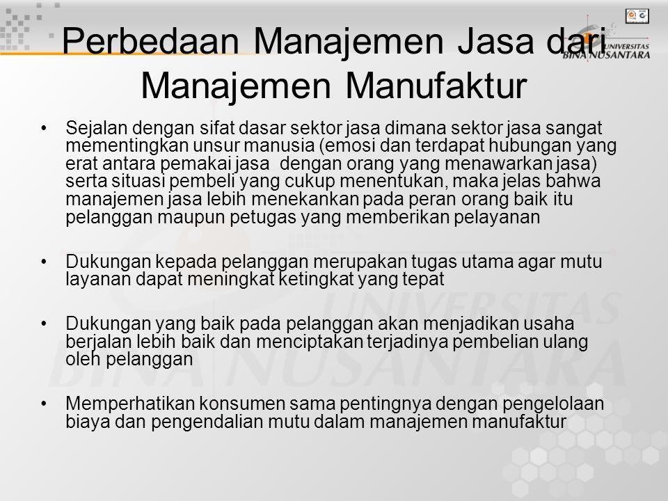 Perbedaan Manajemen Jasa dari Manajemen Manufaktur •Sejalan dengan sifat dasar sektor jasa dimana sektor jasa sangat mementingkan unsur manusia (emosi