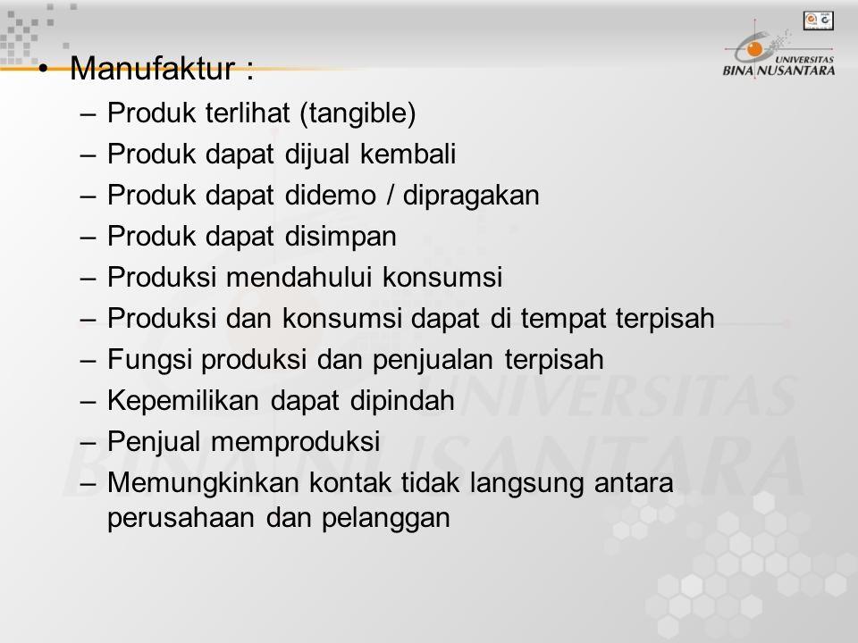 •Manufaktur : –Produk terlihat (tangible) –Produk dapat dijual kembali –Produk dapat didemo / dipragakan –Produk dapat disimpan –Produksi mendahului k