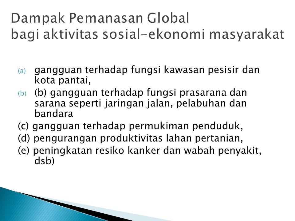 Dampak Pemanasan Global bagi aktivitas sosial-ekonomi masyarakat (a) gangguan terhadap fungsi kawasan pesisir dan kota pantai, (b) (b) gangguan terhad