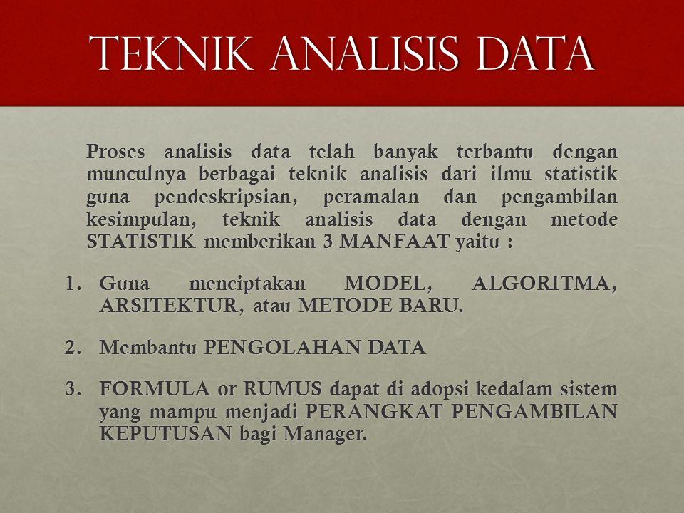 TEKNIK ANALISIS DATA Proses analisis data telah banyak terbantu dengan munculnya berbagai teknik analisis dari ilmu statistik guna pendeskripsian, peramalan dan pengambilan kesimpulan, teknik analisis data dengan metode STATISTIK memberikan 3 MANFAAT yaitu : 1.Guna menciptakan MODEL, ALGORITMA, ARSITEKTUR, atau METODE BARU.