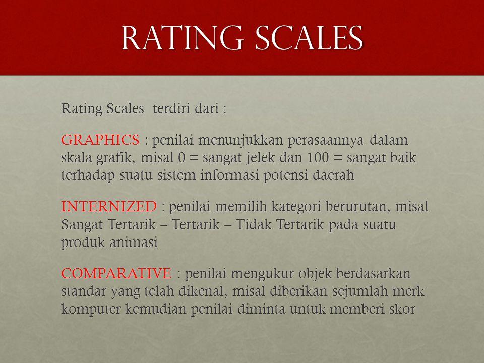 RATING SCALES Rating Scales terdiri dari : GRAPHICS : penilai menunjukkan perasaannya dalam skala grafik, misal 0 = sangat jelek dan 100 = sangat baik terhadap suatu sistem informasi potensi daerah INTERNIZED : penilai memilih kategori berurutan, misal Sangat Tertarik – Tertarik – Tidak Tertarik pada suatu produk animasi COMPARATIVE : penilai mengukur objek berdasarkan standar yang telah dikenal, misal diberikan sejumlah merk komputer kemudian penilai diminta untuk memberi skor