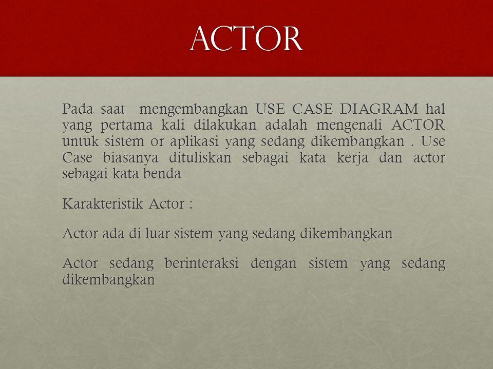 actor Pada saat mengembangkan USE CASE DIAGRAM hal yang pertama kali dilakukan adalah mengenali ACTOR untuk sistem or aplikasi yang sedang dikembangkan.