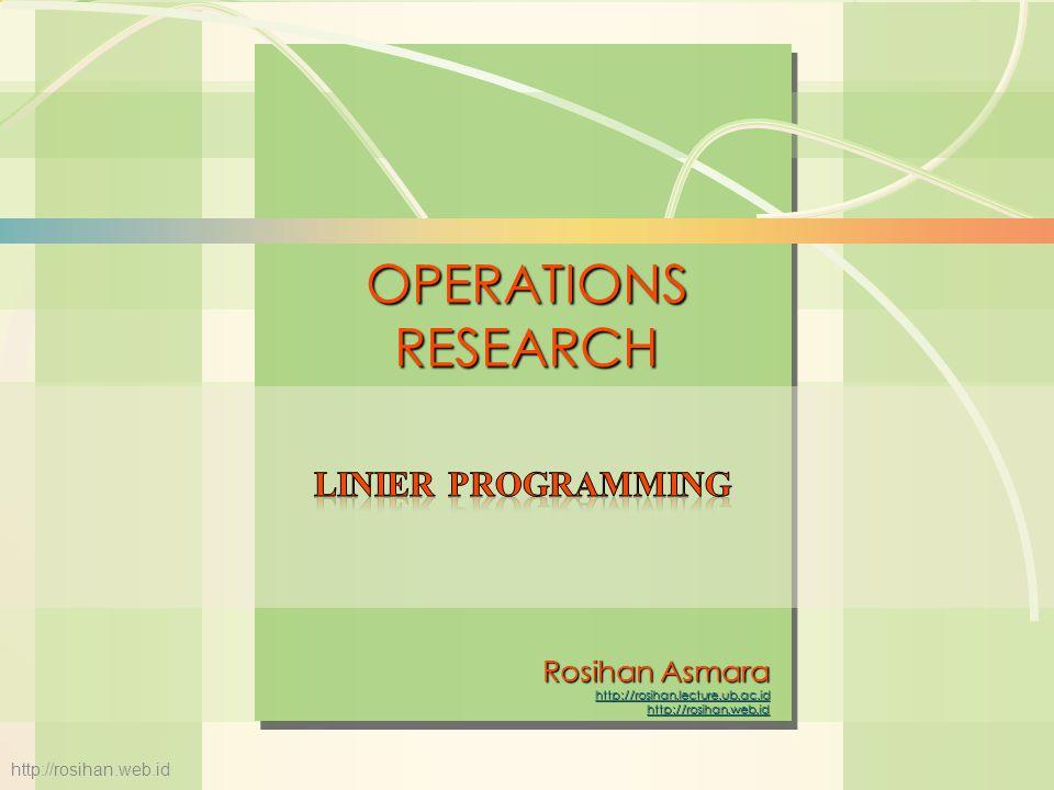 6s-12Linear Programming Fungsi batasan (2 X 1  8); 3X 2  15; 6X 1 + 5X 2  30; X 1  0 dan X 2  0 B C 2X 1 = 8 4 6 5 6X 1 + 5X 2 = 30 D A Daerah feasible X2X2 X1X1 0 3X 2 = 15 5 http://rosihan.web.id