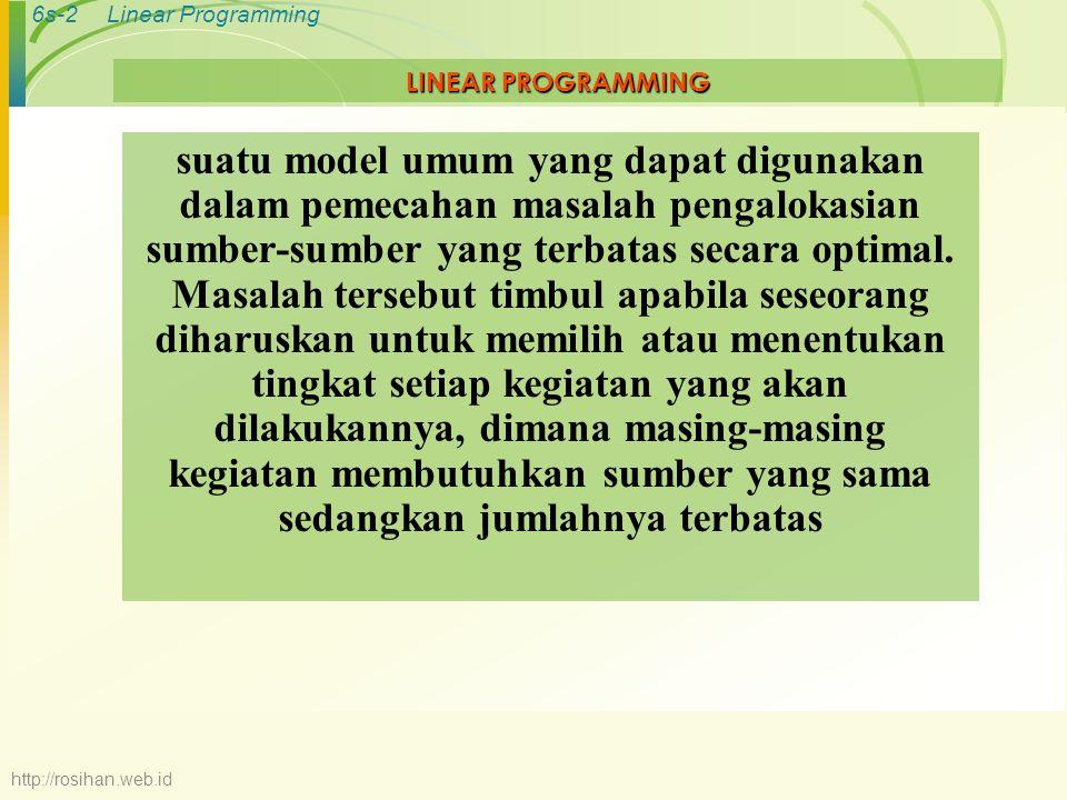 6s-13Linear Programming B C 2X 1 = 8 4 6 5 6X 1 + 5X 2 = 30 D A Daerah feasible X2X2 X1X1 0 3X 2 = 15 5 10 = 3X 1 + 5X 2 4 3X 1 + 5X 2 = 20 MENCARI KOMBINASI YANG OPTIMUM 1.
