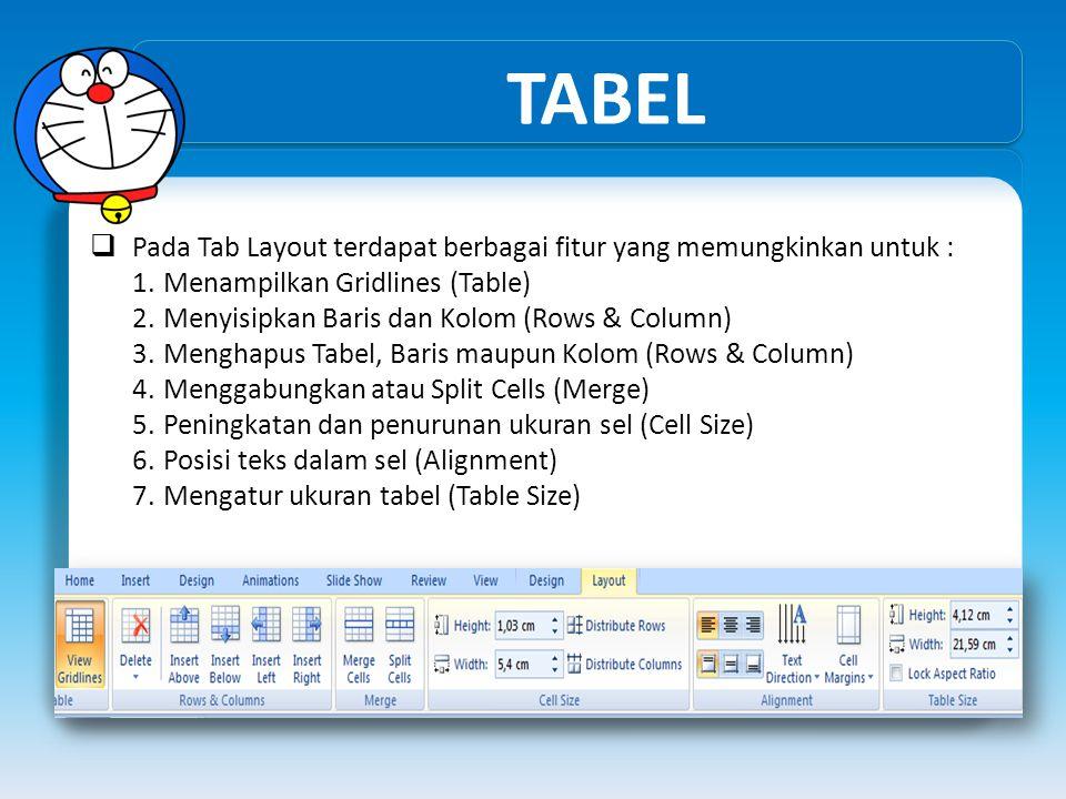 TABEL  Pada Tab Layout terdapat berbagai fitur yang memungkinkan untuk : 1.Menampilkan Gridlines (Table) 2.Menyisipkan Baris dan Kolom (Rows & Column