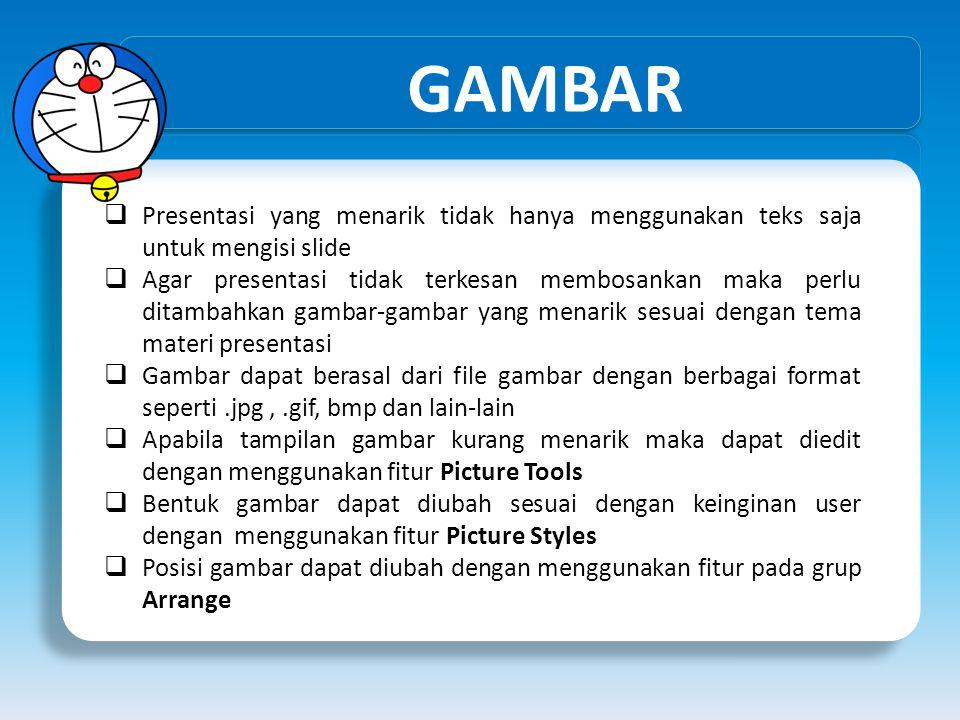 GAMBAR  Presentasi yang menarik tidak hanya menggunakan teks saja untuk mengisi slide  Agar presentasi tidak terkesan membosankan maka perlu ditamba