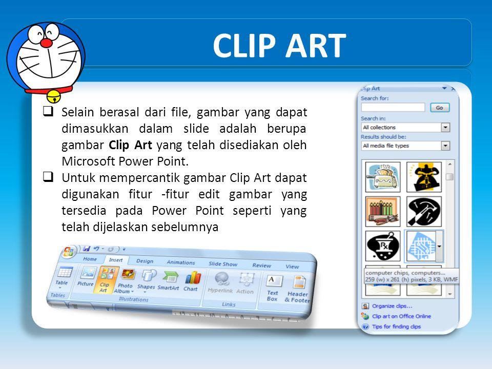 CLIP ART  Selain berasal dari file, gambar yang dapat dimasukkan dalam slide adalah berupa gambar Clip Art yang telah disediakan oleh Microsoft Power