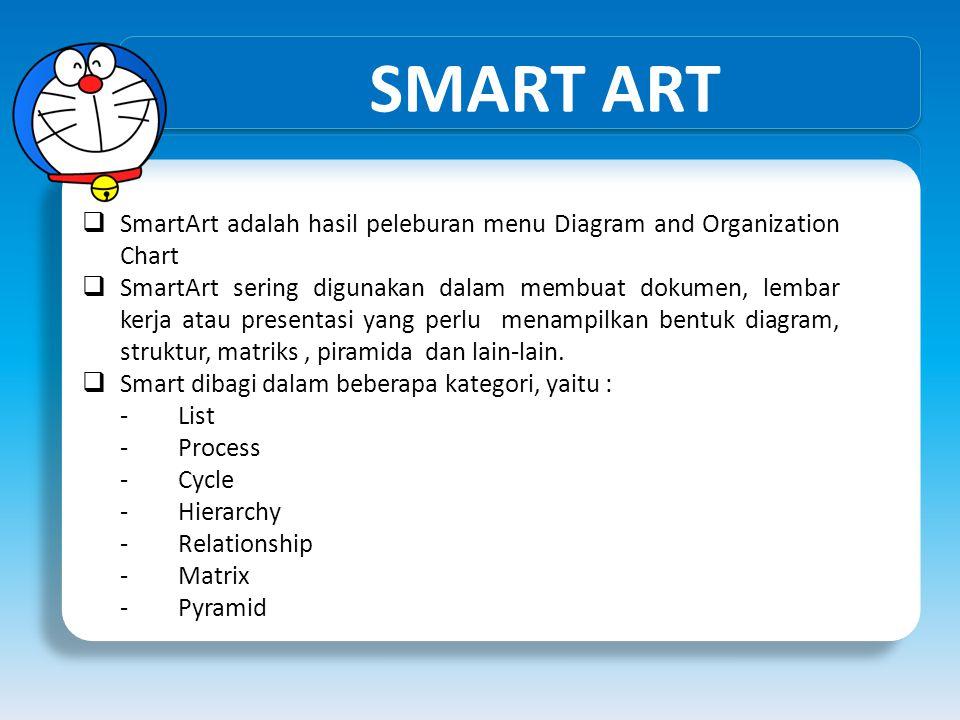 SMART ART  SmartArt adalah hasil peleburan menu Diagram and Organization Chart  SmartArt sering digunakan dalam membuat dokumen, lembar kerja atau p