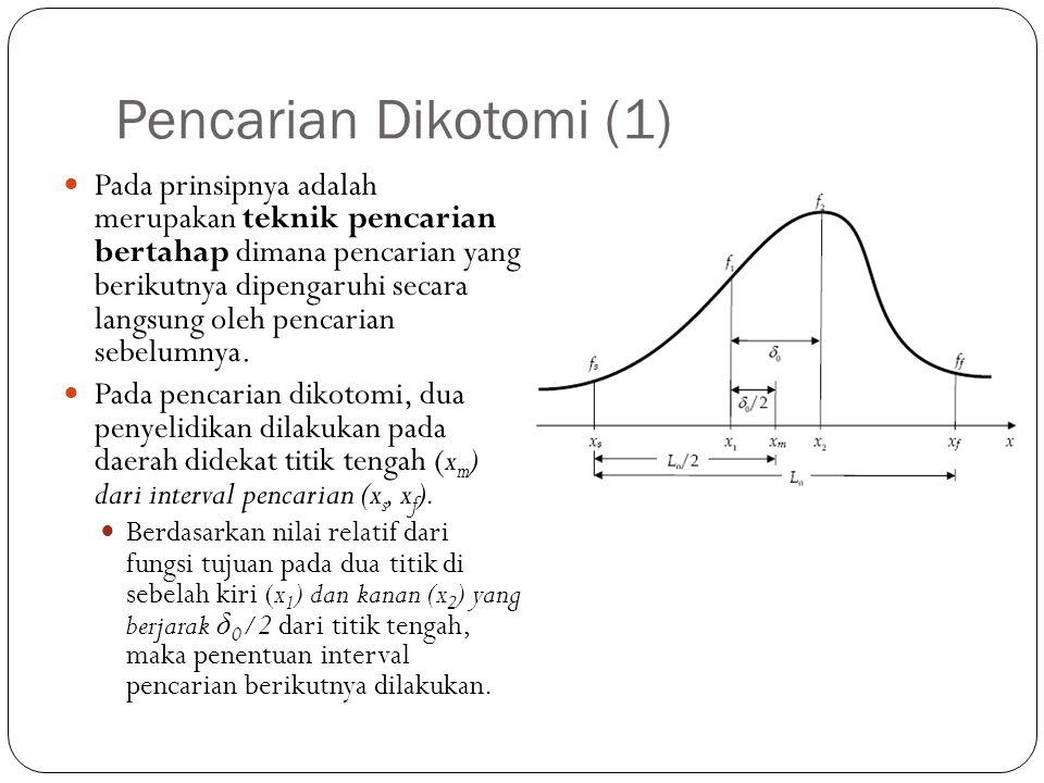 Pencarian Dikotomi (1)  Pada prinsipnya adalah merupakan teknik pencarian bertahap dimana pencarian yang berikutnya dipengaruhi secara langsung oleh
