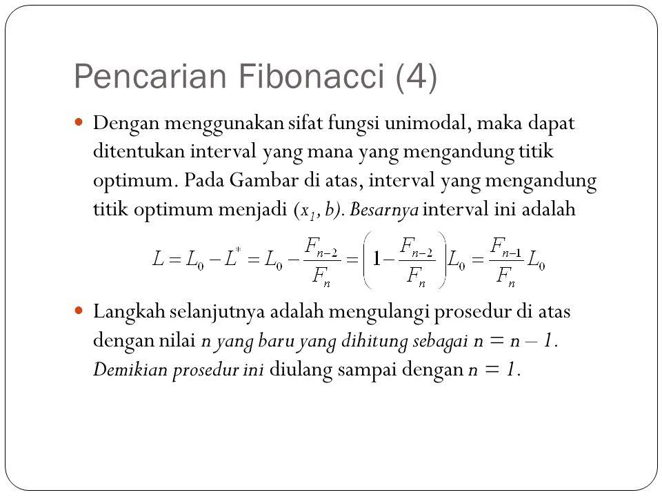 Pencarian Fibonacci (4)  Dengan menggunakan sifat fungsi unimodal, maka dapat ditentukan interval yang mana yang mengandung titik optimum. Pada Gamba