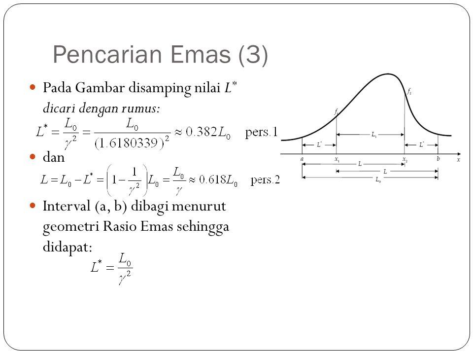 Pencarian Emas (3)  Pada Gambar disamping nilai L * dicari dengan rumus:  dan  Interval (a, b) dibagi menurut geometri Rasio Emas sehingga didapat: