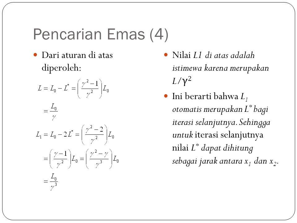 Pencarian Emas (4)  Dari aturan di atas diperoleh:  Nilai L1 di atas adalah istimewa karena merupakan L/ γ 2  Ini berarti bahwa L 1 otomatis merupa
