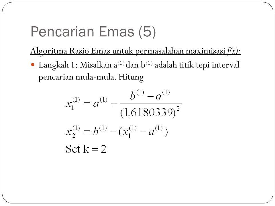 Pencarian Emas (5) Algoritma Rasio Emas untuk permasalahan maximisasi f(x):  Langkah 1: Misalkan a (1) dan b (1) adalah titik tepi interval pencarian