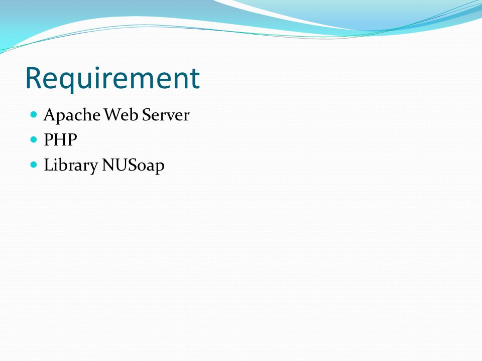 Contoh Web Service Server (WSServer.php)  <?php  // Pull in the NuSOAP code  require_once( lib/nusoap.php );  // Create the server instance  $server = new soap_server();  // Initialize WSDL support  $server->configureWSDL( hellowsdl , urn:hellowsdl );  // Register the method to expose  $server->register( hello , // method name  array( name => xsd:string ), // input parameters  array( return => xsd:string ), // output parameters  urn:hellowsdl , // namespace  urn:hellowsdl#hello , // soapaction  rpc , // style  encoded , // use  Says hello to the caller // documentation  );  // Define the method as a PHP function  function hello($name) {  return Hello, .