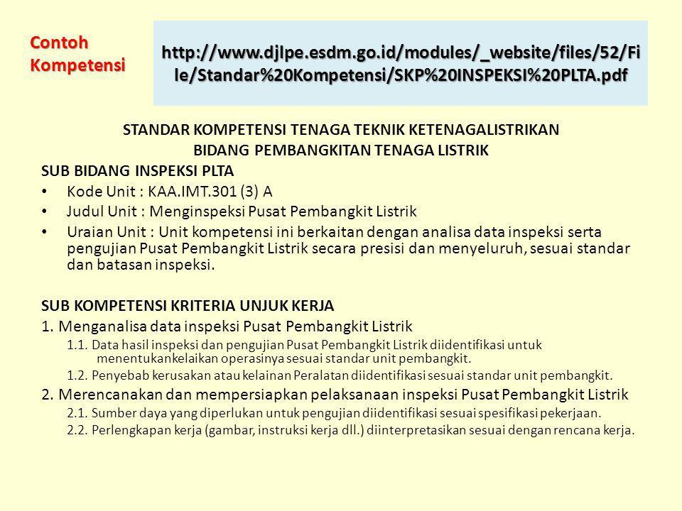STANDAR KOMPETENSI TENAGA TEKNIK KETENAGALISTRIKAN BIDANG PEMBANGKITAN TENAGA LISTRIK SUB BIDANG INSPEKSI PLTA • Kode Unit : KAA.IMT.301 (3) A • Judul