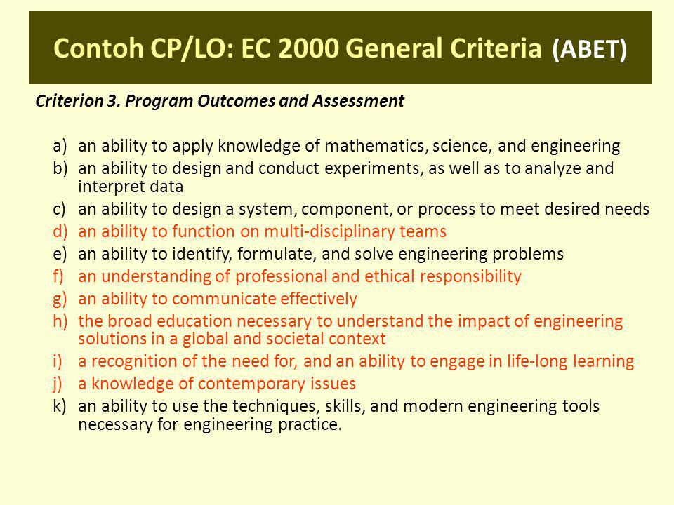 Contoh CP/LO: EC 2000 General Criteria (ABET) Criterion 3. Program Outcomes and Assessment a)an ability to apply knowledge of mathematics, science, an