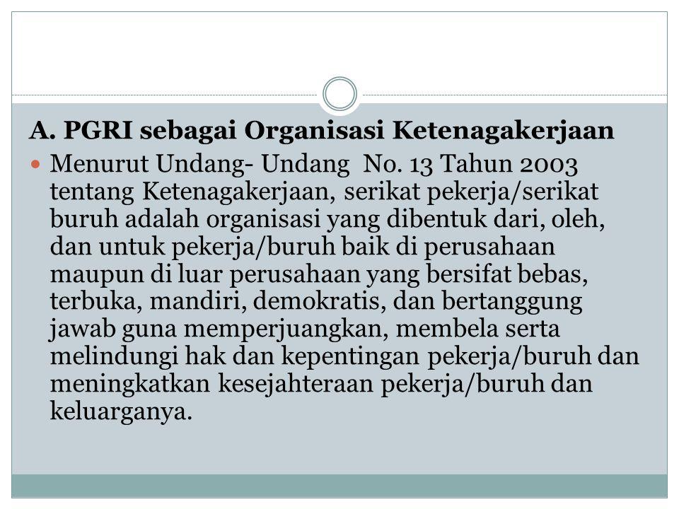  PGRI telah melaksanakan prinsip-prinsip Trade Union (Serikat Pekerja) secara sederhana sejak tahun 1945 sampai tahun 1973.