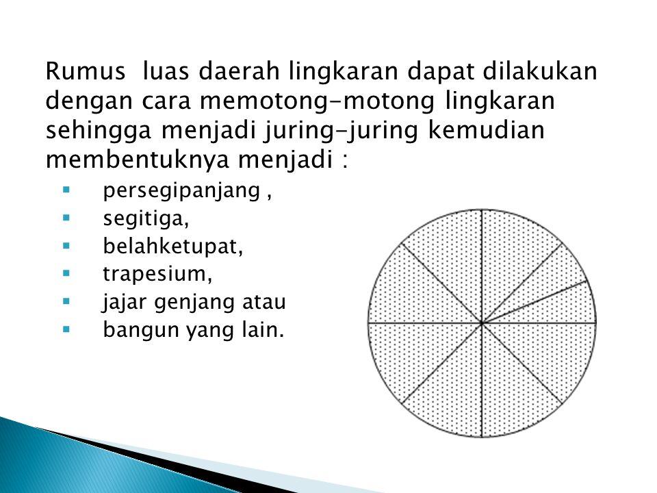 Rumus luas daerah lingkaran dapat dilakukan dengan cara memotong-motong lingkaran sehingga menjadi juring-juring kemudian membentuknya menjadi :  per