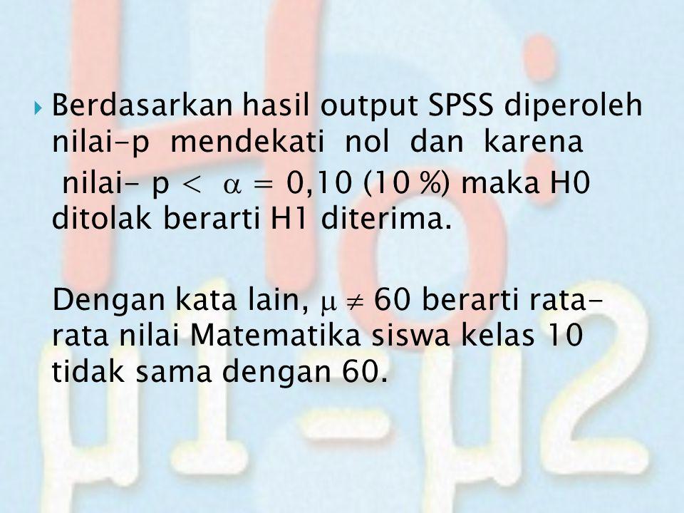  Berdasarkan hasil output SPSS diperoleh nilai-p mendekati nol dan karena nilai- p <  = 0,10 (10 %) maka H0 ditolak berarti H1 diterima. Dengan kata