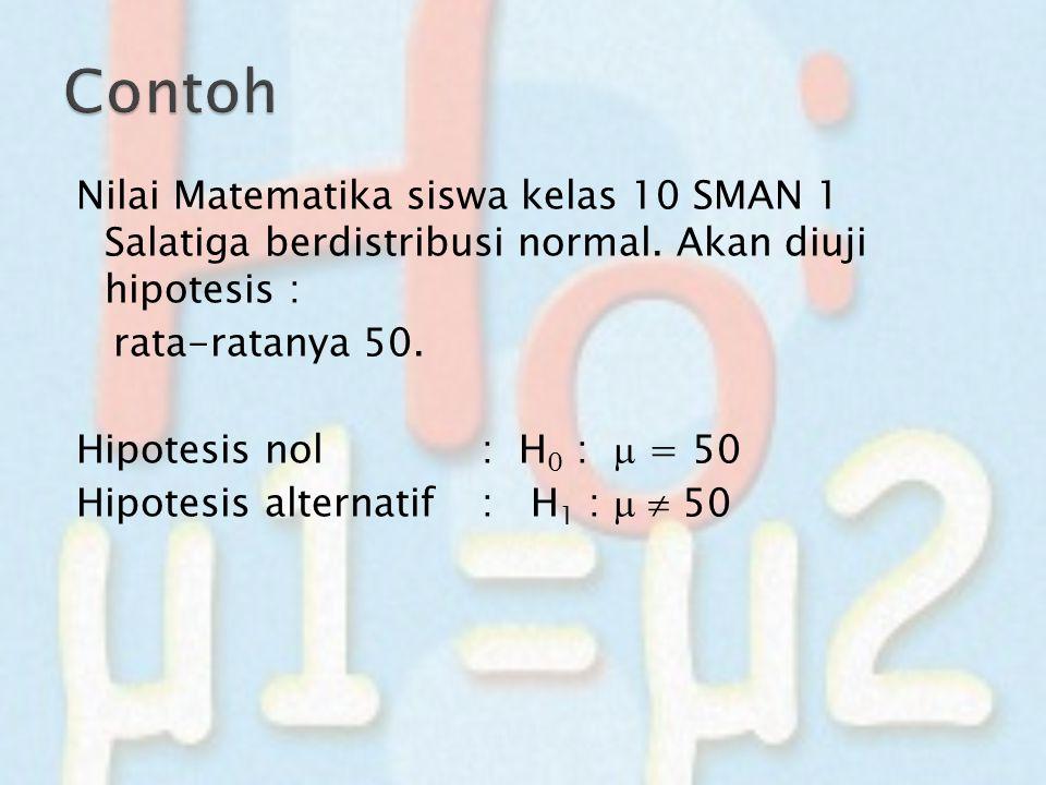 Nilai Matematika siswa kelas 10 SMAN 1 Salatiga berdistribusi normal. Akan diuji hipotesis : rata-ratanya 50. Hipotesis nol : H 0 :  = 50 Hipotesis a