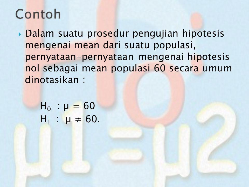  Dalam suatu prosedur pengujian hipotesis mengenai mean dari suatu populasi, pernyataan-pernyataan mengenai hipotesis nol sebagai mean populasi 60 se
