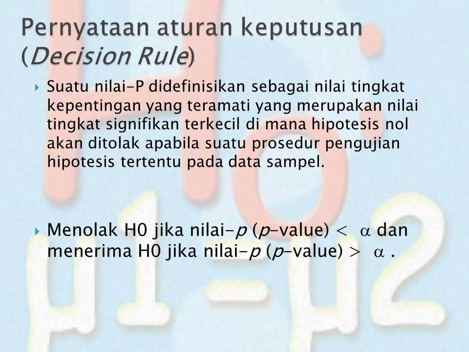  Suatu nilai-P didefinisikan sebagai nilai tingkat kepentingan yang teramati yang merupakan nilai tingkat signifikan terkecil di mana hipotesis nol a