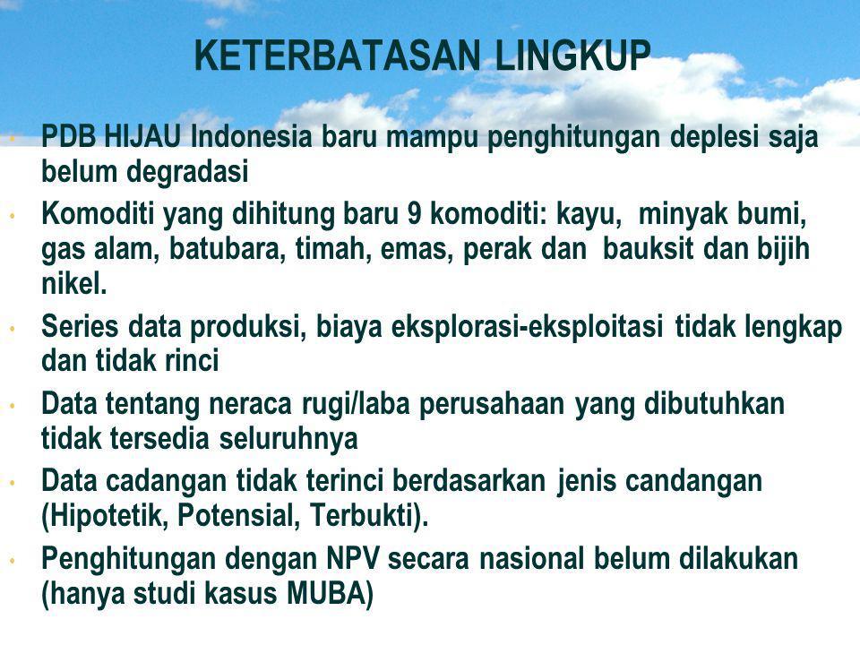 KETERBATASAN LINGKUP • • PDB HIJAU Indonesia baru mampu penghitungan deplesi saja belum degradasi • • Komoditi yang dihitung baru 9 komoditi: kayu, minyak bumi, gas alam, batubara, timah, emas, perak dan bauksit dan bijih nikel.