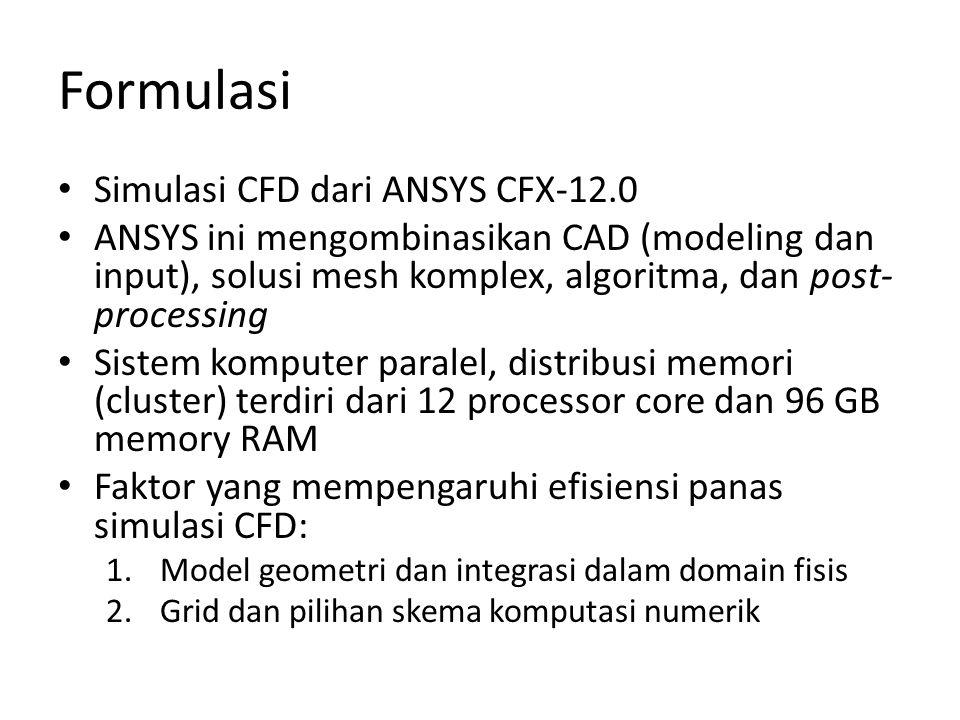 Formulasi • Simulasi CFD dari ANSYS CFX-12.0 • ANSYS ini mengombinasikan CAD (modeling dan input), solusi mesh komplex, algoritma, dan post- processin