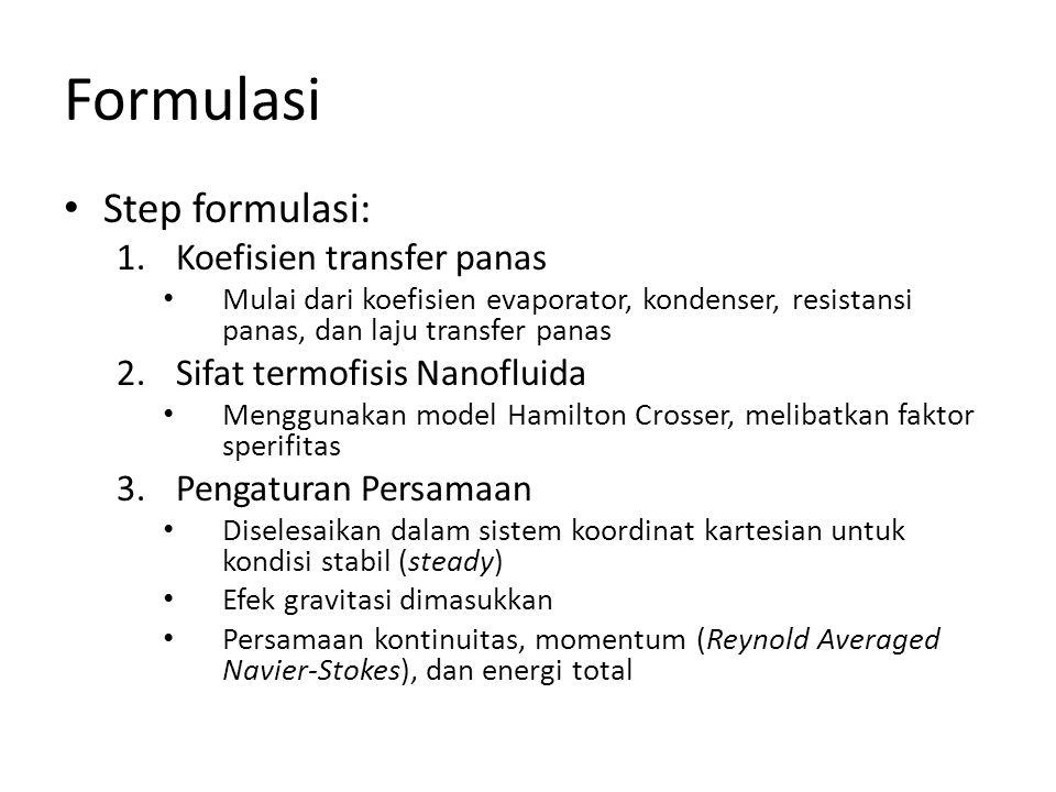 Formulasi • Step formulasi: 1.Koefisien transfer panas • Mulai dari koefisien evaporator, kondenser, resistansi panas, dan laju transfer panas 2.Sifat