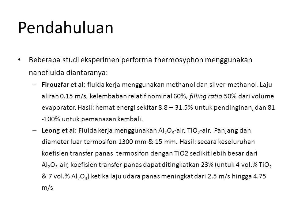 Pendahuluan • Beberapa studi eksperimen performa thermosyphon menggunakan nanofluida diantaranya: – Firouzfar et al: fluida kerja menggunakan methanol