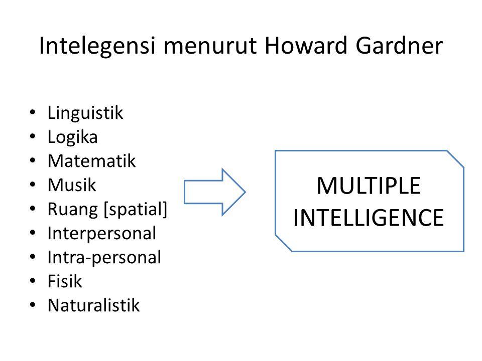 Intelegensi menurut Howard Gardner • Linguistik • Logika • Matematik • Musik • Ruang [spatial] • Interpersonal • Intra-personal • Fisik • Naturalistik