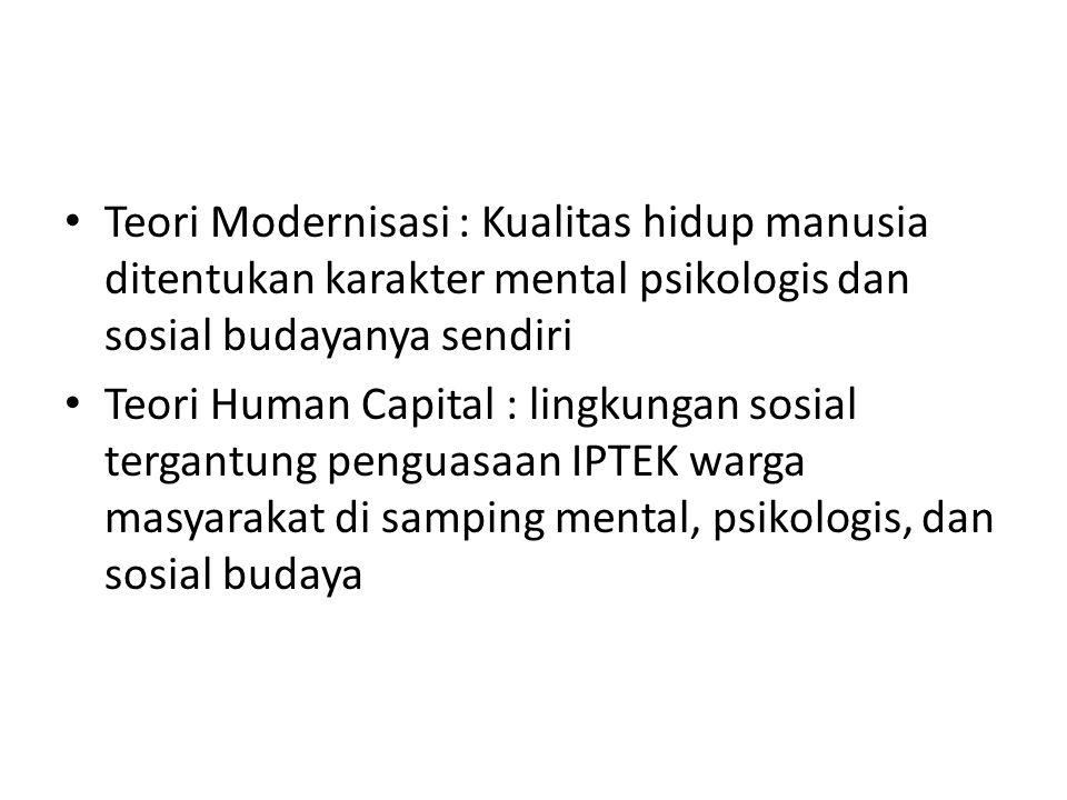 • Teori Modernisasi : Kualitas hidup manusia ditentukan karakter mental psikologis dan sosial budayanya sendiri • Teori Human Capital : lingkungan sos