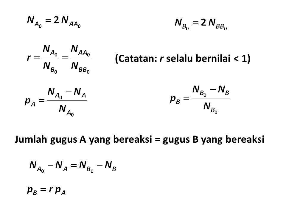 (Catatan: r selalu bernilai < 1) Jumlah gugus A yang bereaksi = gugus B yang bereaksi