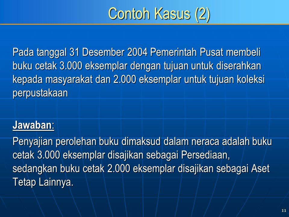 11 Contoh Kasus (2) Pada tanggal 31 Desember 2004 Pemerintah Pusat membeli buku cetak 3.000 eksemplar dengan tujuan untuk diserahkan kepada masyarakat