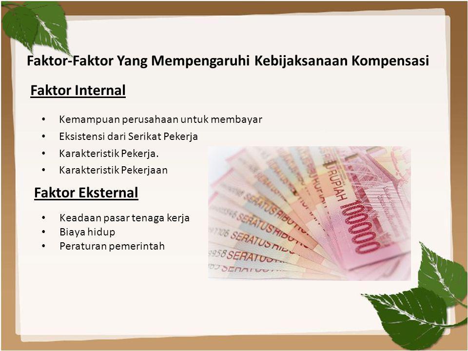 Faktor-Faktor Yang Mempengaruhi Kebijaksanaan Kompensasi • Kemampuan perusahaan untuk membayar • Eksistensi dari Serikat Pekerja • Karakteristik Peker