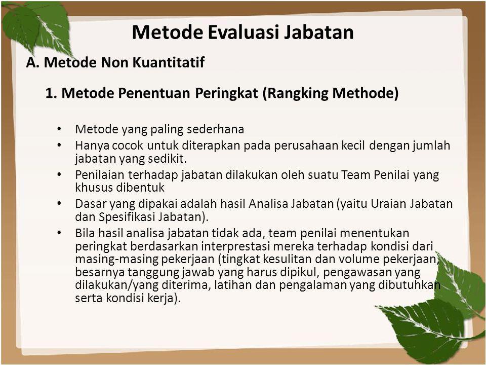 Metode Evaluasi Jabatan • Metode yang paling sederhana • Hanya cocok untuk diterapkan pada perusahaan kecil dengan jumlah jabatan yang sedikit. • Peni