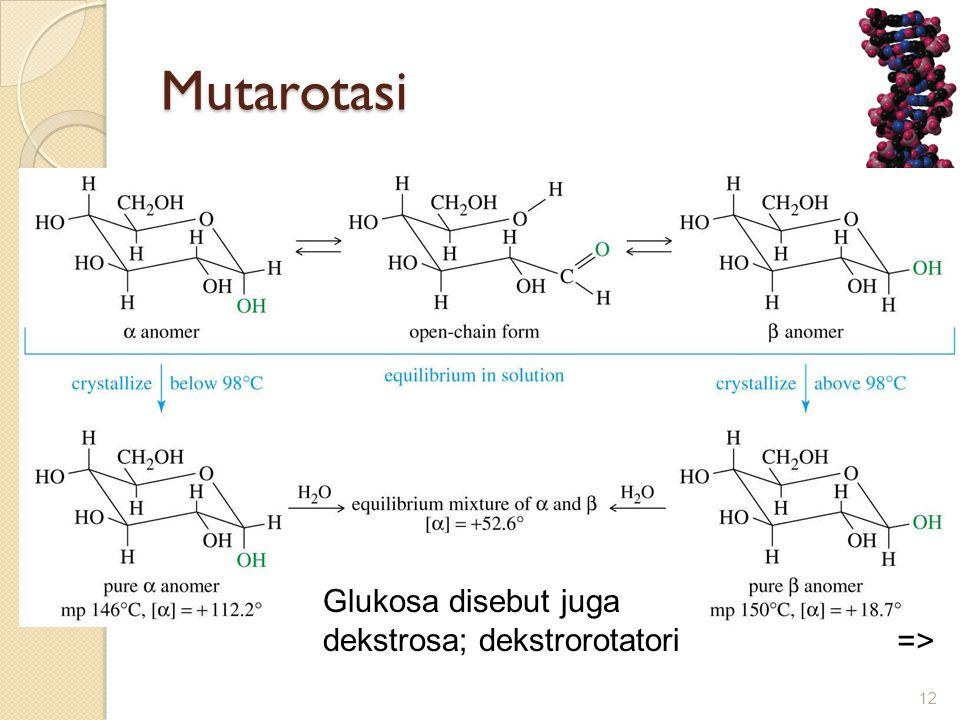 Mutarotasi 12 => Glukosa disebut juga dekstrosa; dekstrorotatori