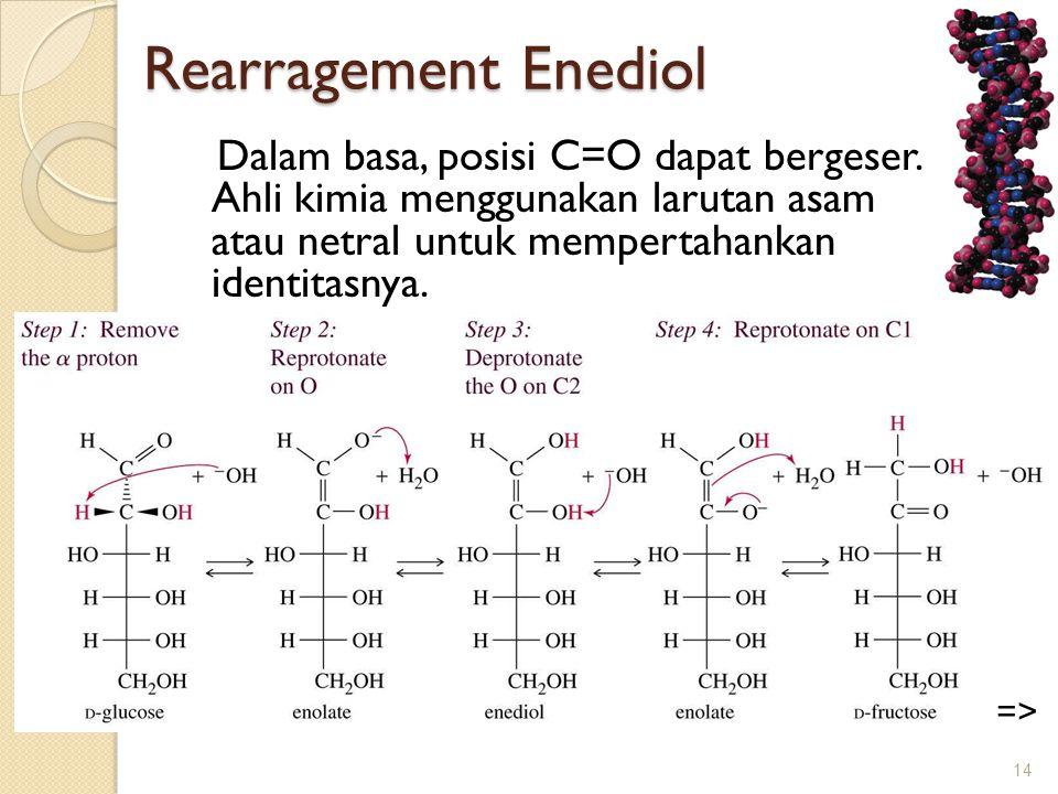 Rearragement Enediol Rearragement Enediol Dalam basa, posisi C=O dapat bergeser. Ahli kimia menggunakan larutan asam atau netral untuk mempertahankan