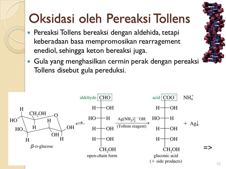 Oksidasi oleh Pereaksi Tollens Oksidasi oleh Pereaksi Tollens  Pereaksi Tollens bereaksi dengan aldehida, tetapi keberadaan basa mempromosikan rearra